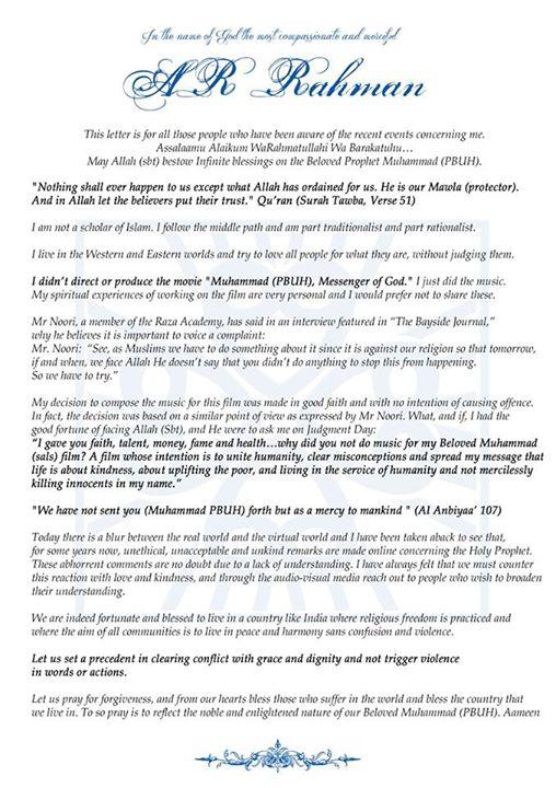 A.R. Rahman response to fatwa